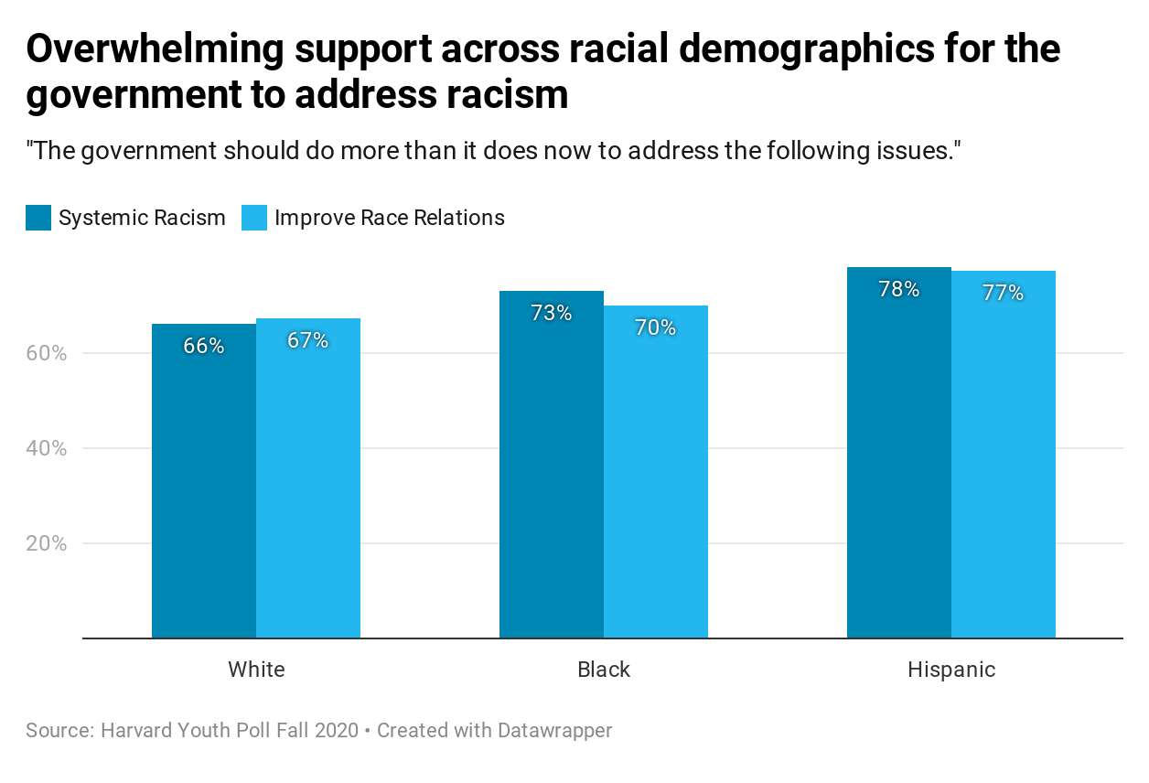 Harvard Youth Poll: Overwhelming support across racial demographics for the government to address racism