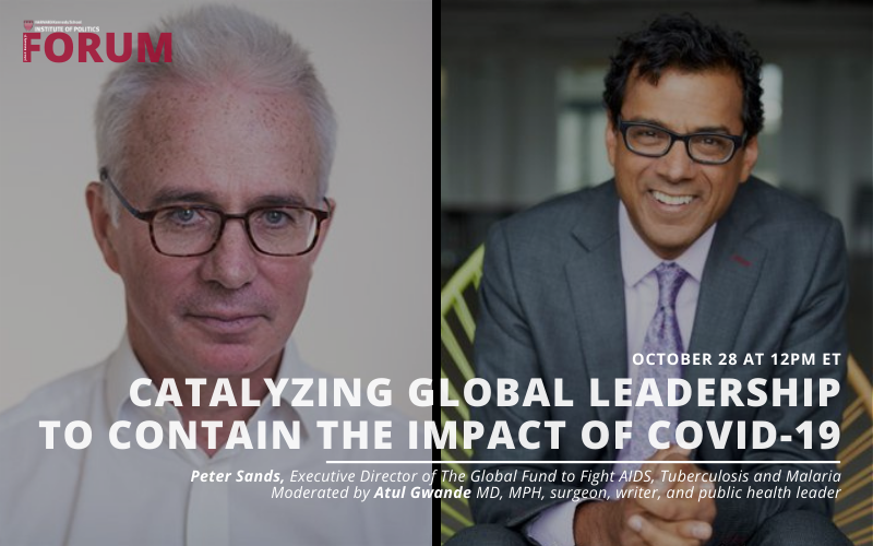 Headshots of event speakers, Peter Sands and Atul Gwande