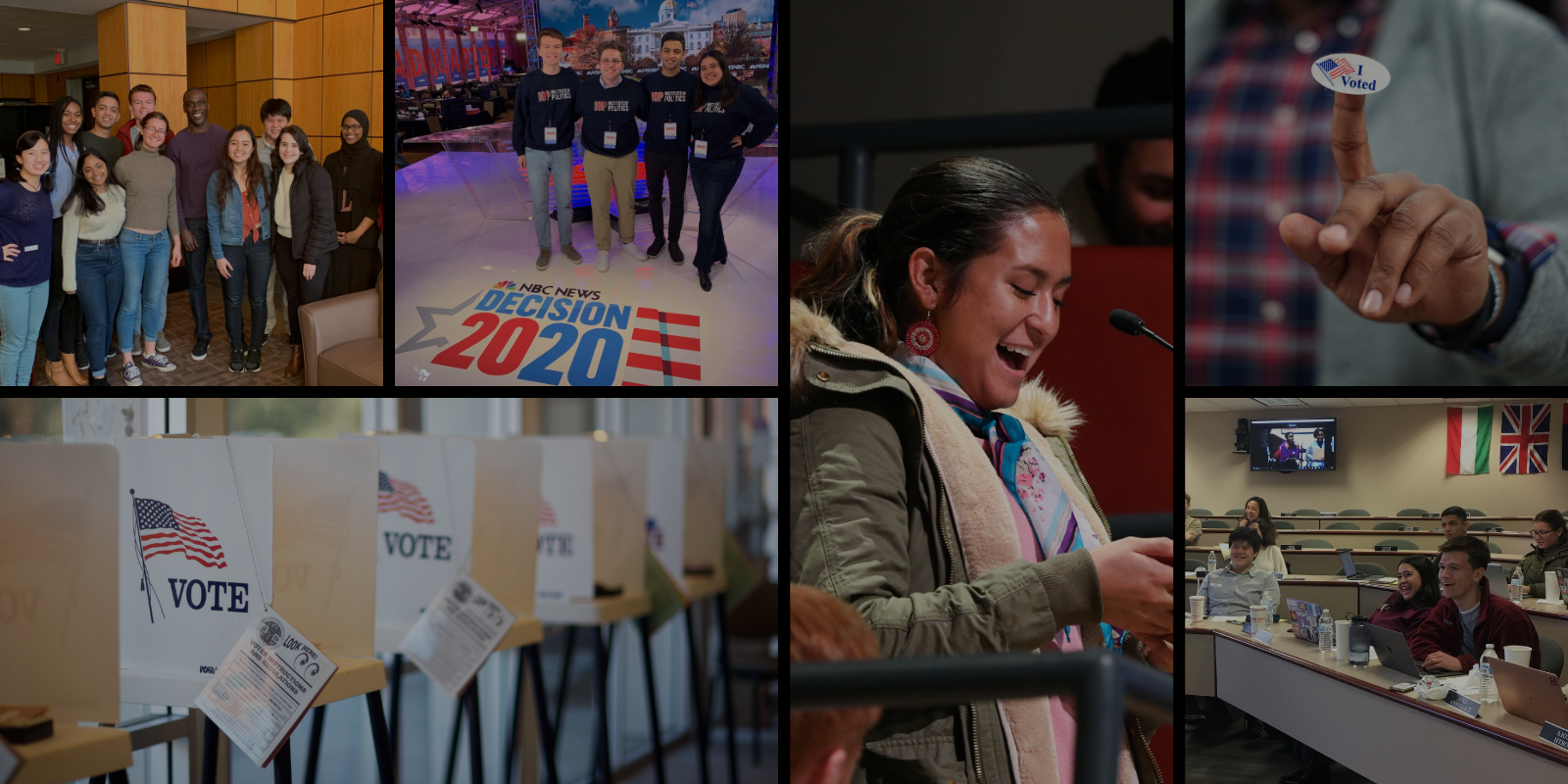 collage of pictures, including: voting booth, Harvard Youth Poll students in South Carolina, I Voted sticker, and female student asking question at microphone