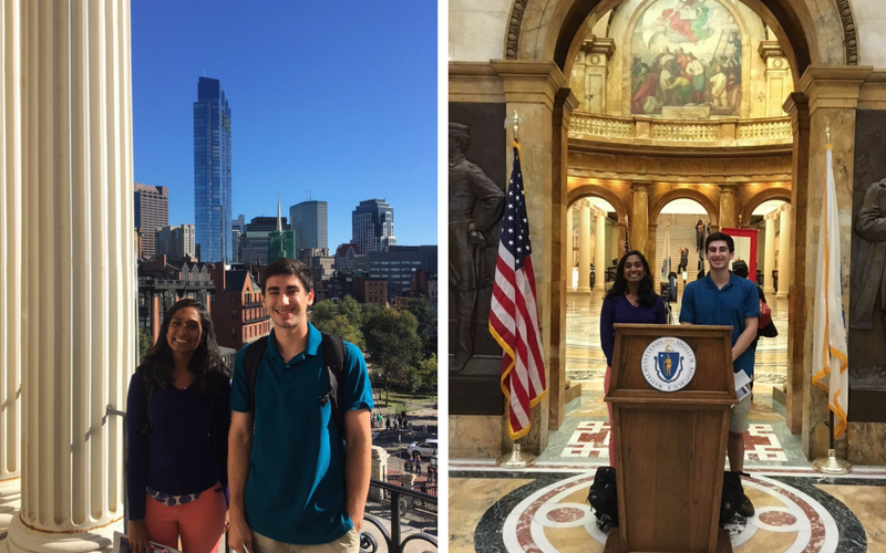 Neha Reddy '18 and Michael Wornow '20 at the Massachusetts State House