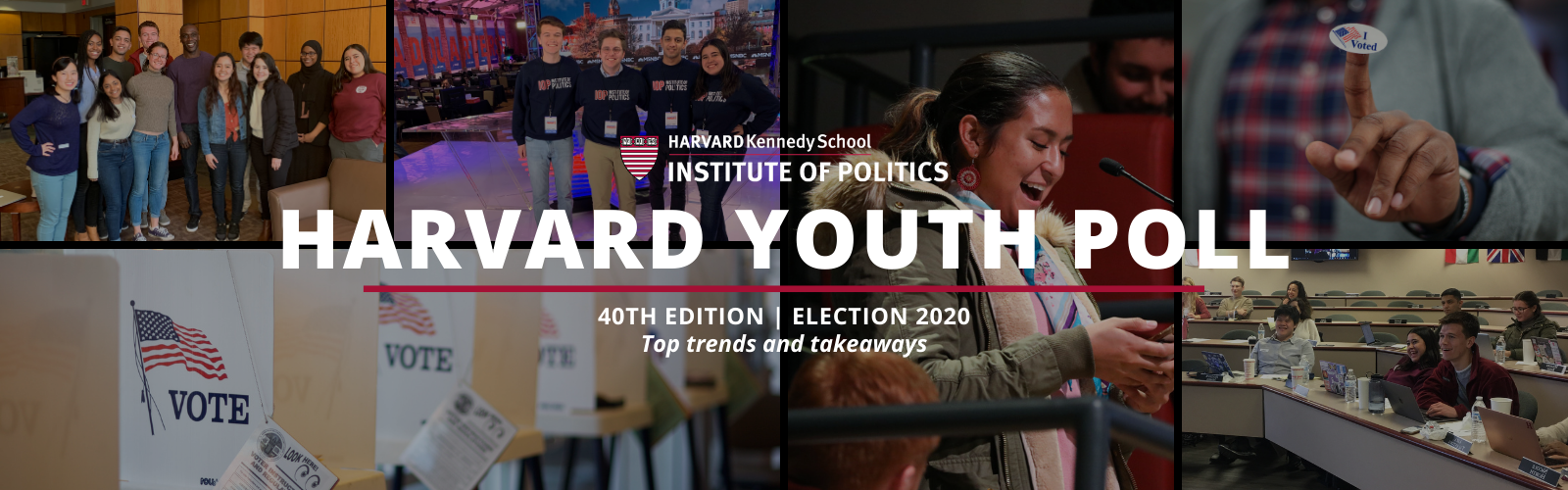 "Text reads: ""Harvard Youth Poll, 40th Edition, Election 2020, Top trends and takeaways."" Collage of pictures, including: voting booth, Harvard Youth Poll students in South Carolina, I Voted sticker, and female student asking question at microphone"